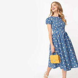 Collectif Blue Gingham Daisy Dress